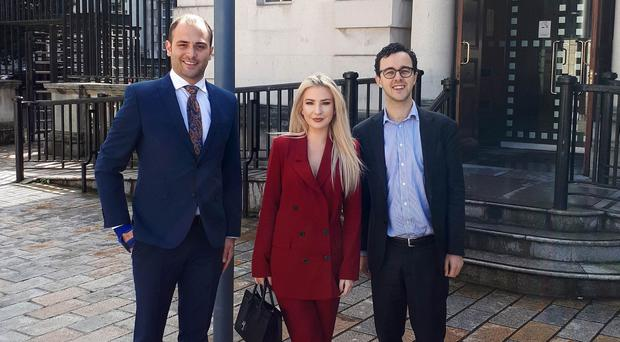 Press Eye Belfast - Northern Ireland 11th September 2017 Model Laura Lacole was back in the Court of Appeal today for the on going legal challenge over humanist marriage in Northern Ireland. Pictured outside with her solicitor Ciaran Moynagh (left) and Richy Thompson of Humanist UK.
