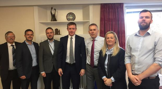 Delegation from the different political parties meeting with David Sterling. Pictured L-R: Alan Chambers - UUP; Robbie Butler - UUP; Chris Lyttle - Alliance Party; Justin McNulty - SDLP; Head of the civil service in Northern Ireland David Sterling; Sinead Ennis - Sinn Fein; Gerry Carroll - People Before Profit.