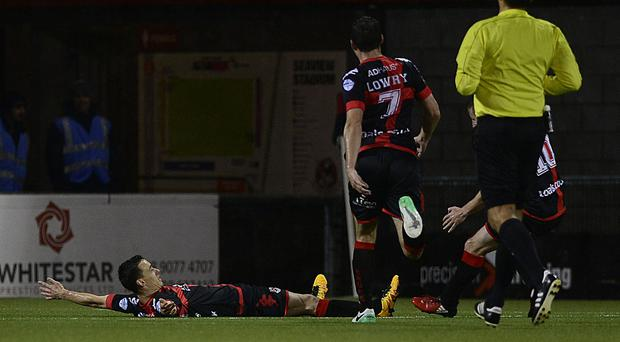 Crusaders' Paul Heatley laps up the paudits for his stunning strike. Picture By: Arthur Allison/Pacemaker Press