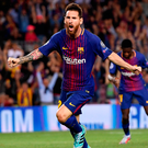 Barcelona's Lionel Messi celebrates after scoring against Juventus. Photo: Alex Caparros/Getty Images