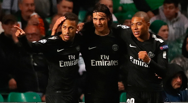 Deadly trio: Neymar, Edinson Cavani and Kylian Mbappe were all on target on a miserable night at Parkhead for Brendan Rodgers and Celtic. Photo: Ian MacNicol/Getty Images