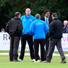 Decision time: umpires Michael Gough and Mark Hawthorne and match referee Javigal Srinath (right) abandon the Ireland and West Indies game. Photo: Arthur Allison/Pacemaker Press