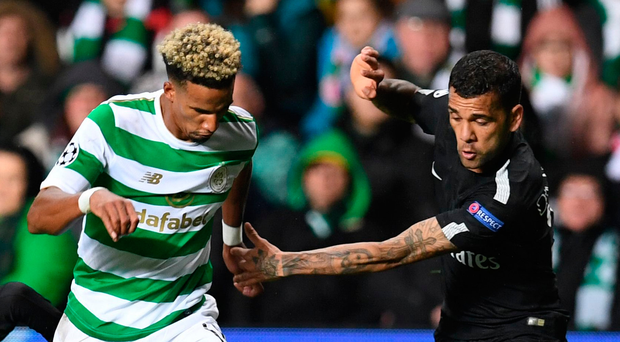 Tough task: Scott Sinclair takes on PSG full-back Dani Alves at Celtic Park on Tuesday night. Photo: Getty Images