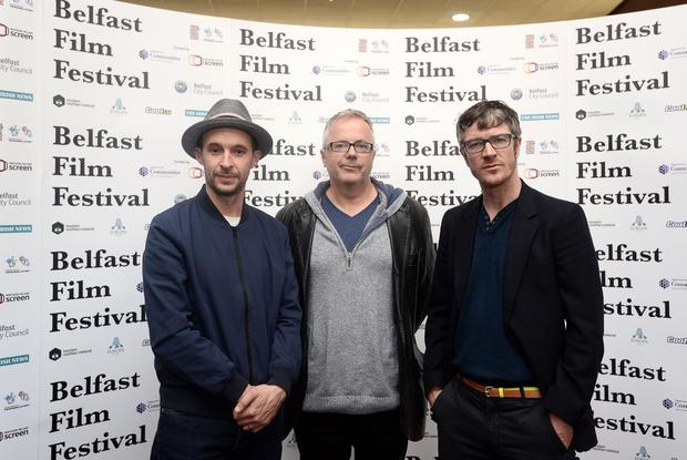 Maze actors Tom Vaughan Lawlor and Barry Ward, and director Stephen Burke in Belfast for the premiere at Movie House Cinema on the Dublin Road. (Colm Lenaghan/Pacemaker Press)