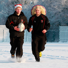 Happy times: Old pals Nevin Spence and Paddy McAllister in a light-hearted winter run-out with Ulster