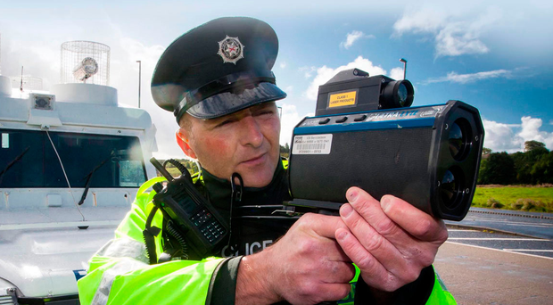 A police speed camera in action