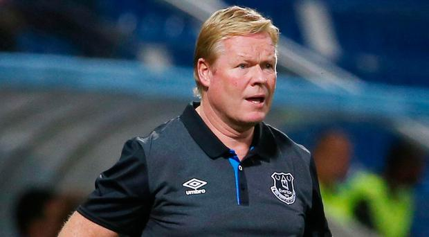 Disappointed: Everton manager Ronald Koeman at last night's match in Italy