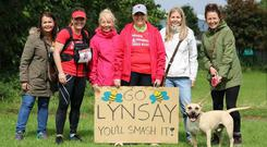 Lynsay Adair was cheered on by friends as she completed the gruelling five-day race.