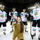 Celebrating the renewal of the partnership between the Belfast Giants and Stena Line are Brandon Benedict, Kevin Raine, Anna Hazzard of Stena Line, Jonathan Ferland and John Kurtz.