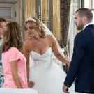 Eva Price (Catherine Tyldesley) squares up to Maria (Samia Longchambon) as she gatecrashes her wedding to Aidan (Shayne Ward)