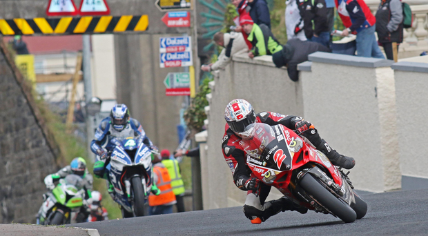 Out in front: Glenn Irwin on his way to victory at the North West 200 in May