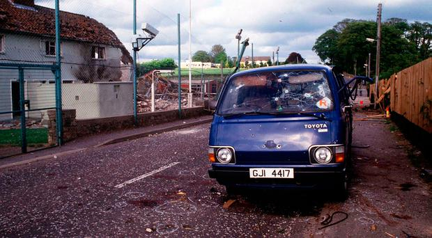 The bullet riddled van after the ambush which killed eight IRA men