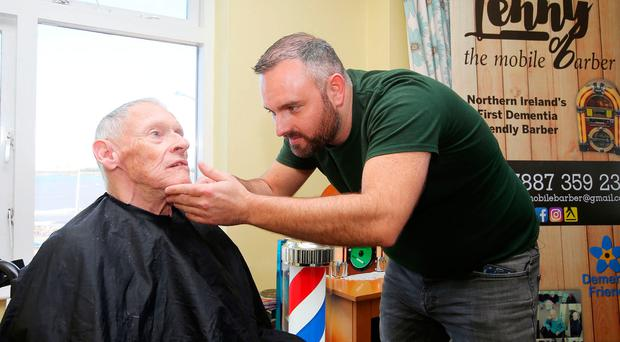 Lenny White cuts 70-year-old Drew's hair