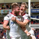 Special night: Ulster's John Andrew celebrates his try with Andrew Trimble