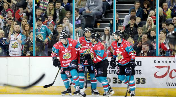 Belfast Giants Sebastien Sylvestre celebrates scoring against Dundee Stars during last Saturday night's Challenge Cup game at the SSE Arena, Belfast.