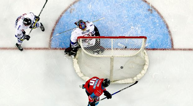 Belfast Giants Sebastien Sylvestre scoring against Dundee Stars during Saturday nights Challenge Cup game at the SSE Arena, Belfast. Photo by William Cherry/Presseye