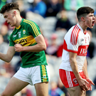 Joy and pain: Kerry's David Clifford celebrates scoring a goal in yesterday's Minor Football Championship Final