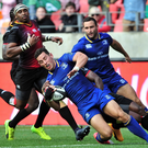 Touchdown: Noel Reid goes over for a Leinster try in Port Elizabeth