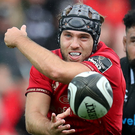On attack: Munster's Duncan Williams makes a move