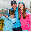 Family affair: Dublin boss Jim Gavin celebrates with his children Jude and Jasmine