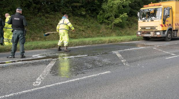 The scene on the Glenshane Road outside Drumahoe where a female pedestrian died following an accident. Picture Martin McKeown. Inpresspics.com. 18.09.17
