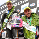 Man of the moment: Peter Hickman (centre) celebrates winning the first Supersport race at the 2017 Ulster GP with runner up Bruce Anstey (left) and third placed Lee Johnston.