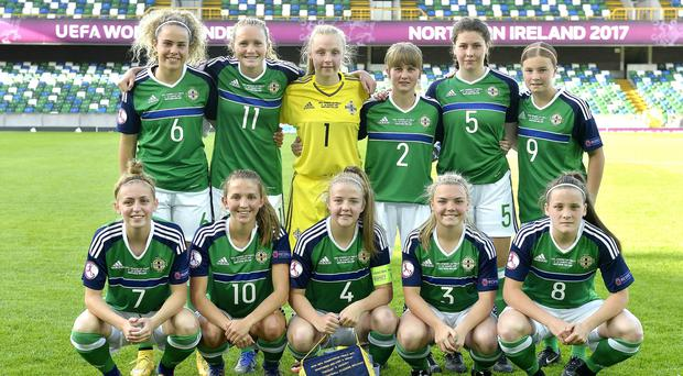 The Northern Ireland U19 team all ready to kick-off the tournament against Spain.