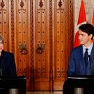 Prime Minister Theresa May during a press conference with Canadian Prime Minister Justin Trudeau at Parliament Hill in Ottowa. Pic: Stefan Rousseau/PA Wire
