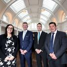 Ulster Bank's Claire McKeown, with Adrian McNally of Titanic Hotel, Gordon Davidson of Ulster Bank, and James Eyre of Titanic Hotel