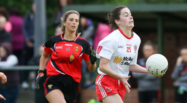 On the ball: Aine Canavan and Gemma Begley will feature for Tyrone in the All-Ireland Intermediate final