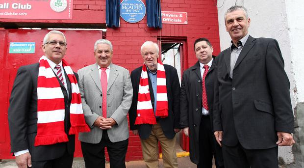 Big reveal: Alan Boyd (Secretary of the Ulster History Circle), Jim Boyce (Fifa Vice-President and President of Cliftonville), Tom Scott (Ulster Scots Agency), Gerard Lawlor (Chairman of Cliftonville) and Trevor Parkhill (Ulster History Circle) at the unveiling of a Blue Plaque for John McCredy McAlery, the founder of Cliftonville FC