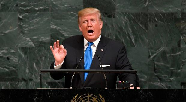 US President Donald Trump addresses the 72nd Annual UN General Assembly in New York on September 19, 2017. / AFP PHOTO / TIMOTHY A. CLARYTIMOTHY A. CLARY/AFP/Getty Images