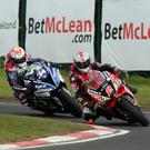 Out in front: Glenn Irwin stays ahead of Alastair Seeley to clinch a thrilling Superbike victory at the NW200 in May
