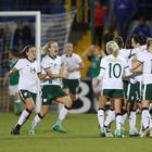 Republic of Ireland players celebrates scoring against Northern Ireland during Tuesday night's World Cup Qualifier at Mourneview Park, Lurgan. Photo by William Cherry/Presseye