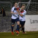 Smiles better: Ards' Reece Glendinning (left) celebrates