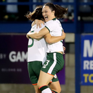 Joy: Megan Campbell of the Republic celebrates scoring