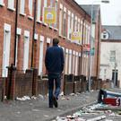 Friday March 18, 2016: Clean up operation takes place after St Patricks day in the Holylands area South Belfast. Photographer Jonathan Porter / Press Eye
