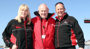 Winning team: North West 200 Event Director Mervyn Whyte MBE with Event Co-ordinator Gillian Lloyd and Operations Manager Fergus McKay, the duo who will one day take control. Photo: Stephen Davison/Pacemaker
