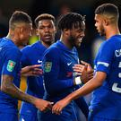 Centre of attention: Chelsea's Belgian Michy Batshuayi (second right) celebrates after sealing his hat-trick in the game against Nottingham Forest. Photo: Glyn Kirk/Getty Images