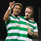 Spot on: Scott Sinclair hails his opener with Leigh Griffiths