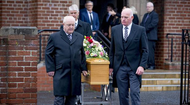 The funeral of Bangor model agency boss Edna Gillen takes place in Groomsport on September 20th 2017 (Photo by Kevin Scott / Belfast Telegraph)