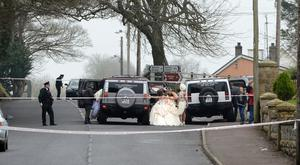 Members of the wedding party leave the churchs after the shooting this afternoon. Two men have been shot and injured at a wedding in Newtownbutler in County Fermanagh. Photo by Ronan McGrade/Pacemaker Press