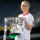 Cup that cheers: Tyrone skipper Neamh Woods holds the Intermediate trophy at Croke Park