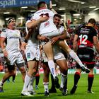 Smiles better: Tommy Bowe and Charles Piutau celebrate with try scorer Jacob Stockdale