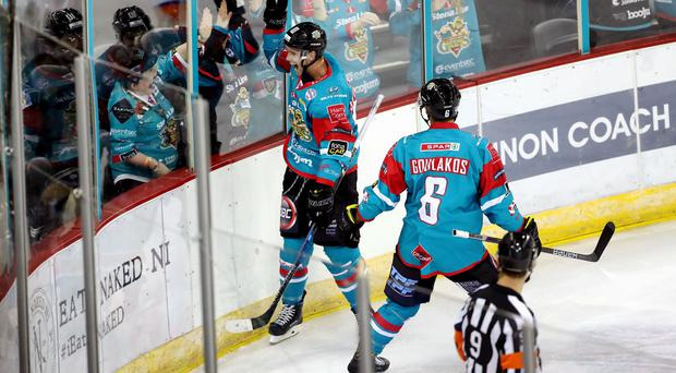 Press Eye - Belfast Belfast Giants Sebastien Sylvestre celebrates scoring against the Sheffield Steelers during Saturday nights Elite Ice Hockey League game at the SSE Arena, Belfast. Photo by William Cherry/Presseye