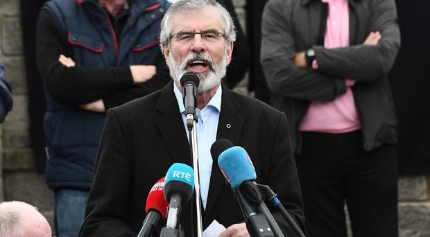 PACEMAKER BELFAST 24/09/2017 Sinn Féin President Gerry Adams addresses a commemoration in Ballymurphy to mark the centenary of the death of Tómas Ashe on hunger strike and to remember all of the hunger strikers of the last century.
