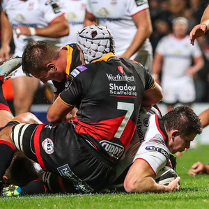 Big impact: Ulster's Nick Timoney scores his side's fourth try on Friday night