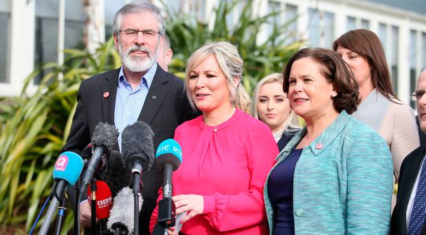 Gerry Adams with Sinn Fein colleagues Michelle O�Neill and Mary Lou McDonald