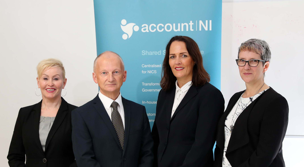Pictured from left is Valerie Kelly from BT Business in Northern Ireland, John Crosby from Account NI Shared Services, Geraldine McNulty from BT Business in Northern Ireland and Hazlette Benson from Account NI Shared Services