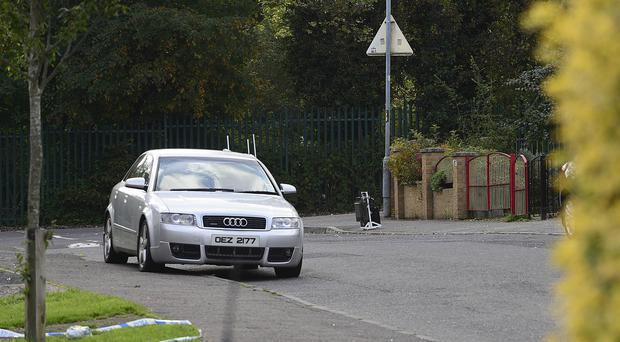 PACEMAKER BELFAST 25 September 2017: Police are currently in attendance at a security alert in Horn Drive in west Belfast following the discovery of a suspicious object in the area. Horn Drive has been closed to traffic and a number of homes in the area evacuated.